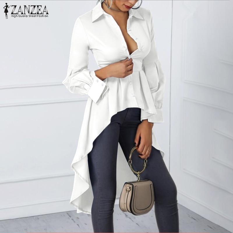 Mujer túnica Tops 2020 moda blusa elegante camisas con mangas de linterna ZANZEA señoras Casual cintura alta asimétrica botones Blusas 7