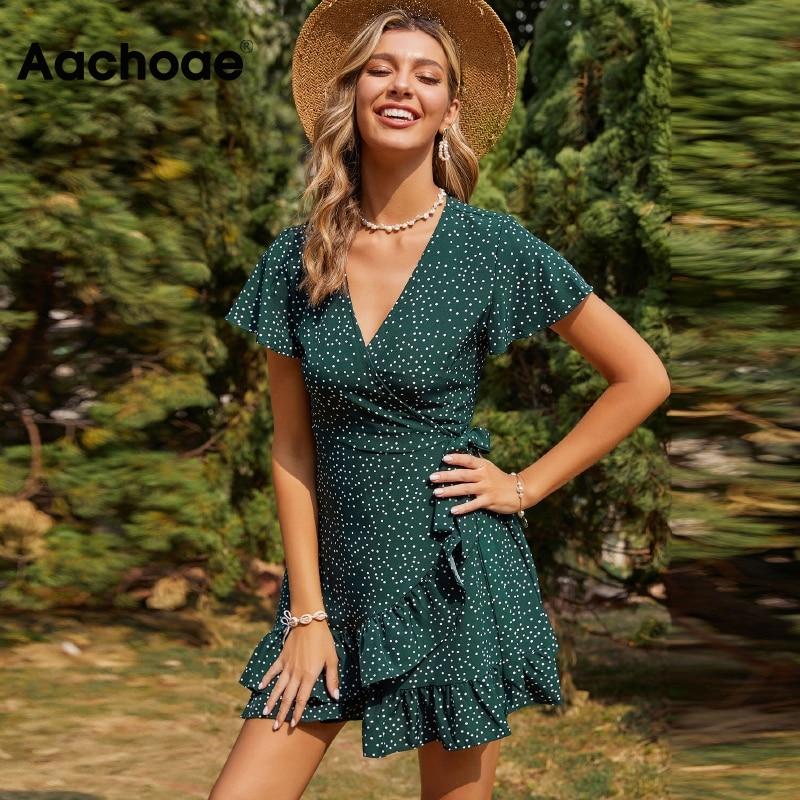Aachoae летнее платье в горошек, платье в горошек с v-образным вырезом Повседневное платье трапециевидной формы с пышной юбкой, платье с коротким рукавом, прозрачные сетчатые вставки облегающее мини платье с оборками, Открытое платье без рукавов Vestidos