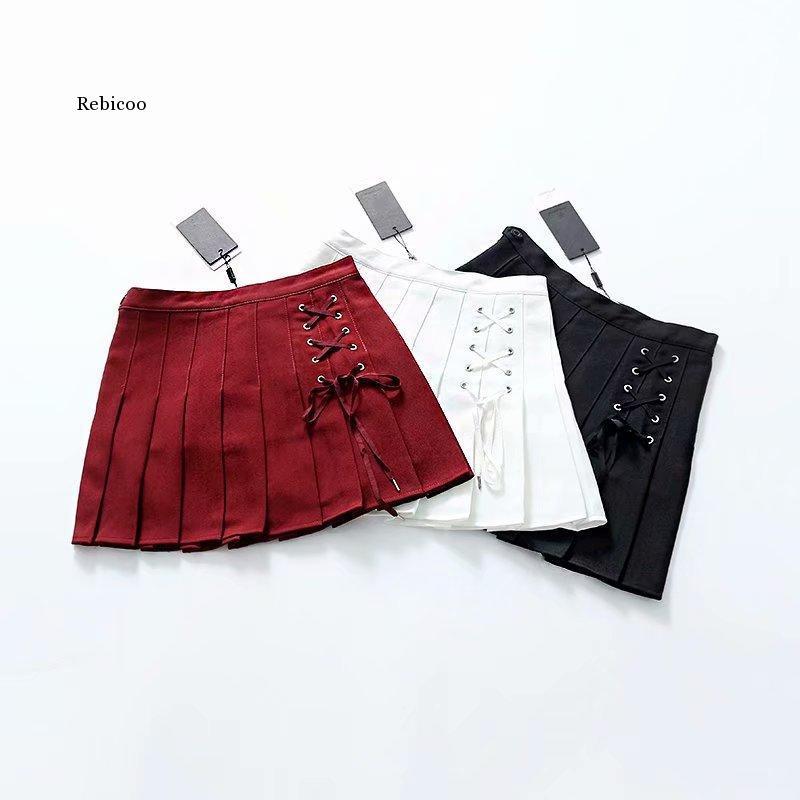 Gothic Lolita Skirt Women Ladies Winter Black Red Mini Pleated Ball Gown Autumn High Waist Plaid Short Skirts