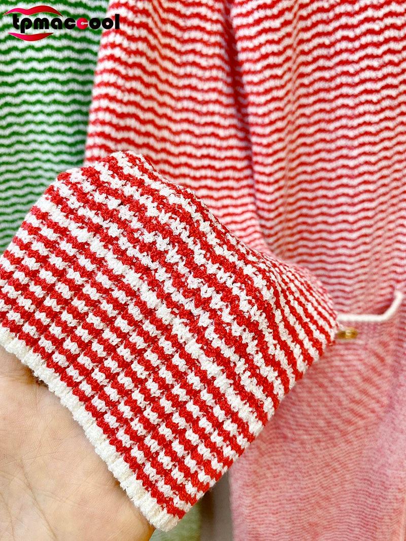 designer fashion HIGH END 2021 autumn Elegant women cardigans Runway knitted striped GOLD logoed buttons long sweater cardigan enlarge