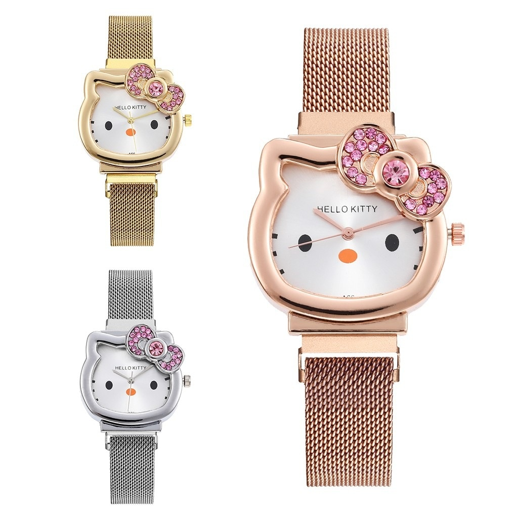 New Ultra-thin children's mesh strap watch student kids waterproof watch KT cat quartz watch for wom