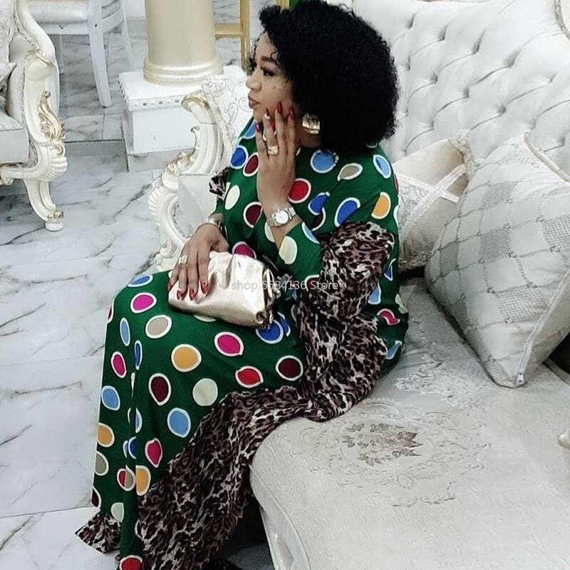 Vestido de chifón africano de talla grande para mujer, ropa Kanga de punto con estampado de leopardo Dashiki, vestido Maxi con cuello redondo, vestido de fiesta, manga de murciélago