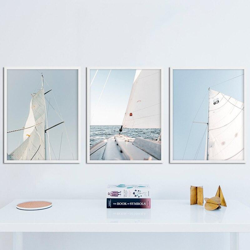 Минималистичный Декор плакаты парус настенное искусство небо яхта Холст Картина горизонт и принты океан лодка морские Картины домашний де...