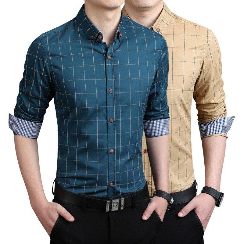 Zogaa Men Plaid Shirt Spring Autumn Men Business Office Dress Shirt Men Long Sleeve Slim Fit Blouse Formal Turn-down Collar Tops