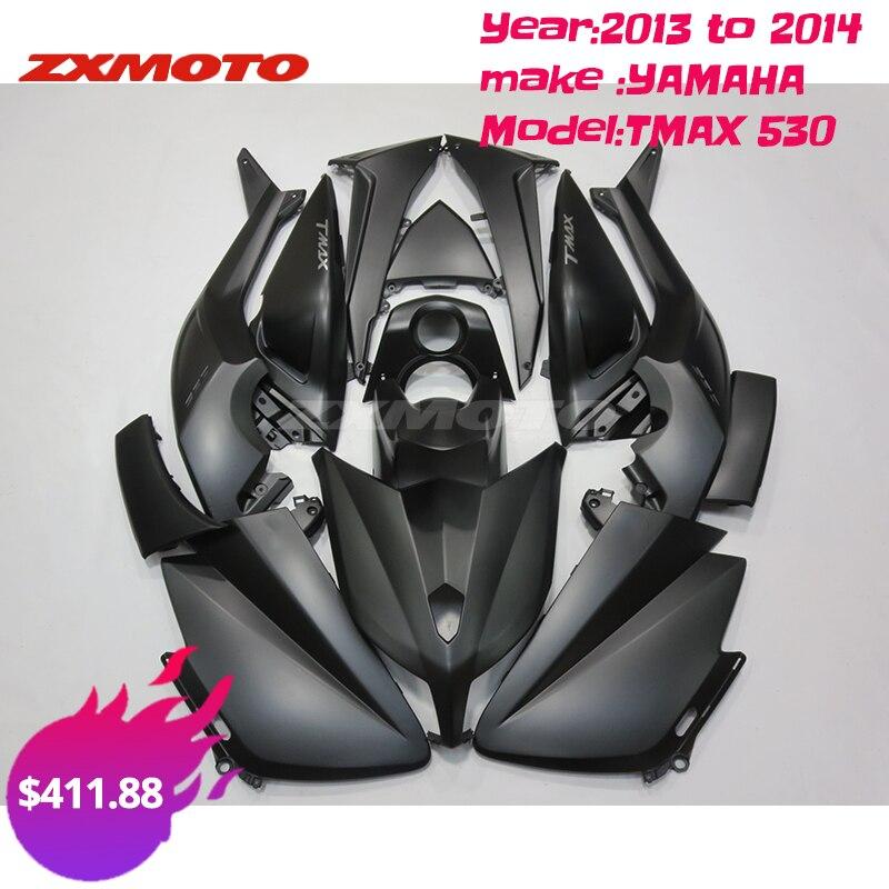 ZXMOTO مجموعة كاملة من البلاستيك ABS تناسب 2013 إلى 2014 YAMAHA TMAX 530 13 14 أسود غير لامع