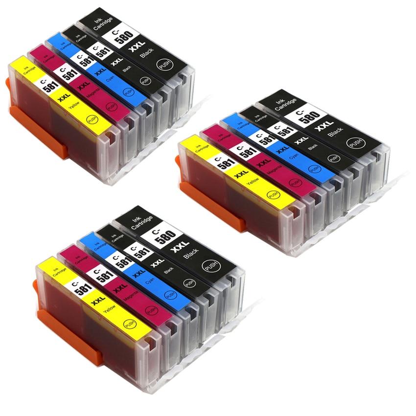 Juego de 3 CLI-581 PGI580 para Canon PIXMA TS705 TR7550 TR8550 TS6150 TS6151 TS6250 TS6350 TS8150 TS8151 TS8151 TS8152 TS8250 TS8251