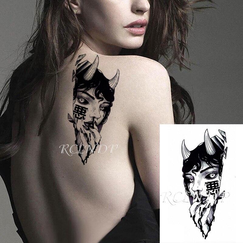 "Waterproof Temporary Tattoo Sticker Sexy Girl Antler Chinese Word ""e"" Geometric Patterns Fake Tatto Flash Tatoo for Men Women"