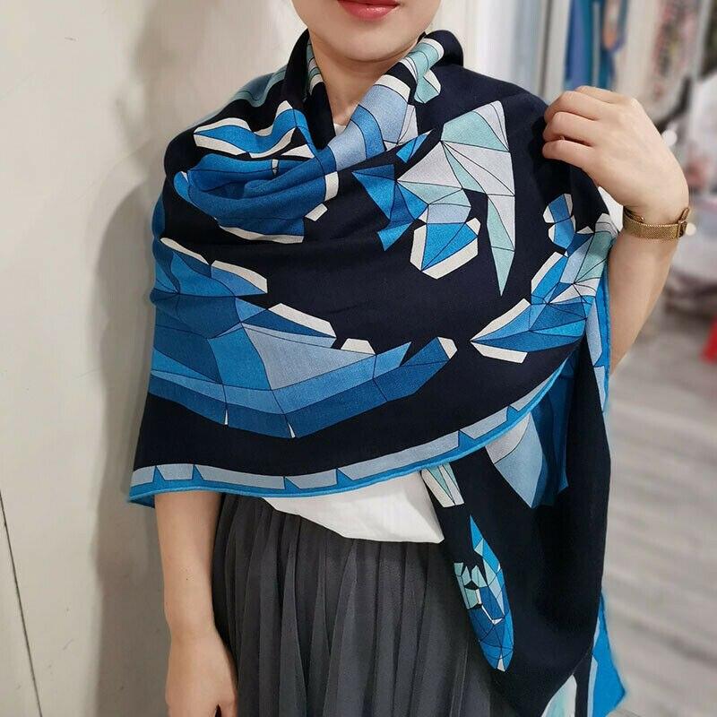 Lujosa bufanda fina de seda 70% de Cachemira 30%, chal de cabeza estampada con caballo geométrico Vintage, pañuelo de 135x135cm