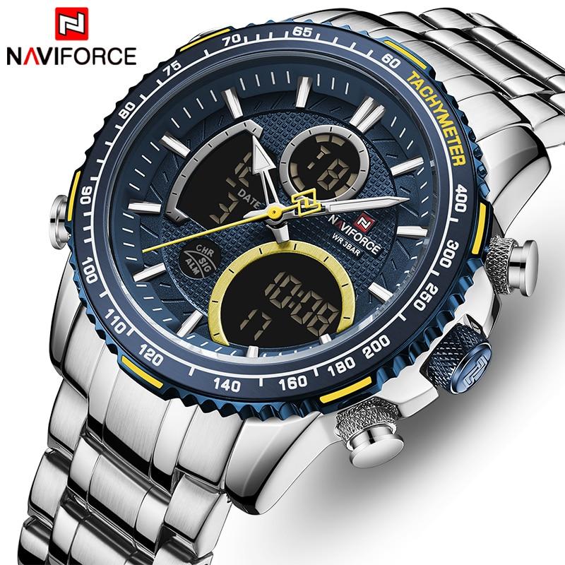 NAVIFORCE Men Watch Top Luxury Brand Big Dial Sport Watches Mens Chronograph Quartz Wristwatch Date Male Clock Relogio Masculino