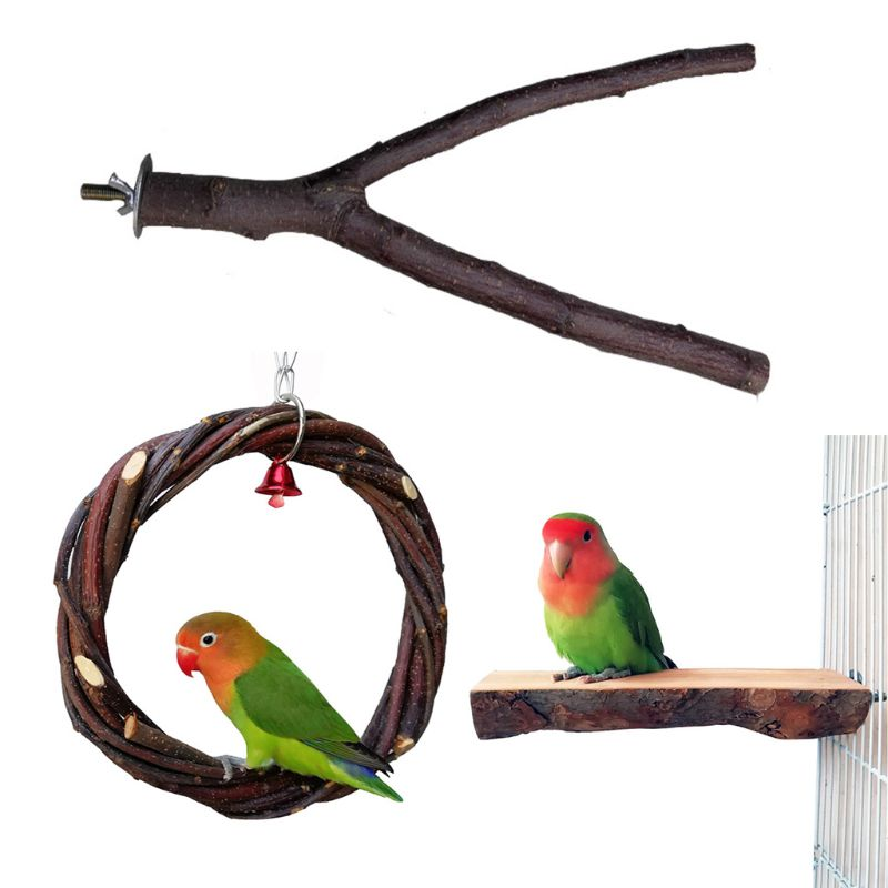 3 unids/set percha para pájaros para jaula de loro columpio Juguetes Para periquito percha Stands plataforma Natural manzana-madera Finches anillo de círculo de ejercicio