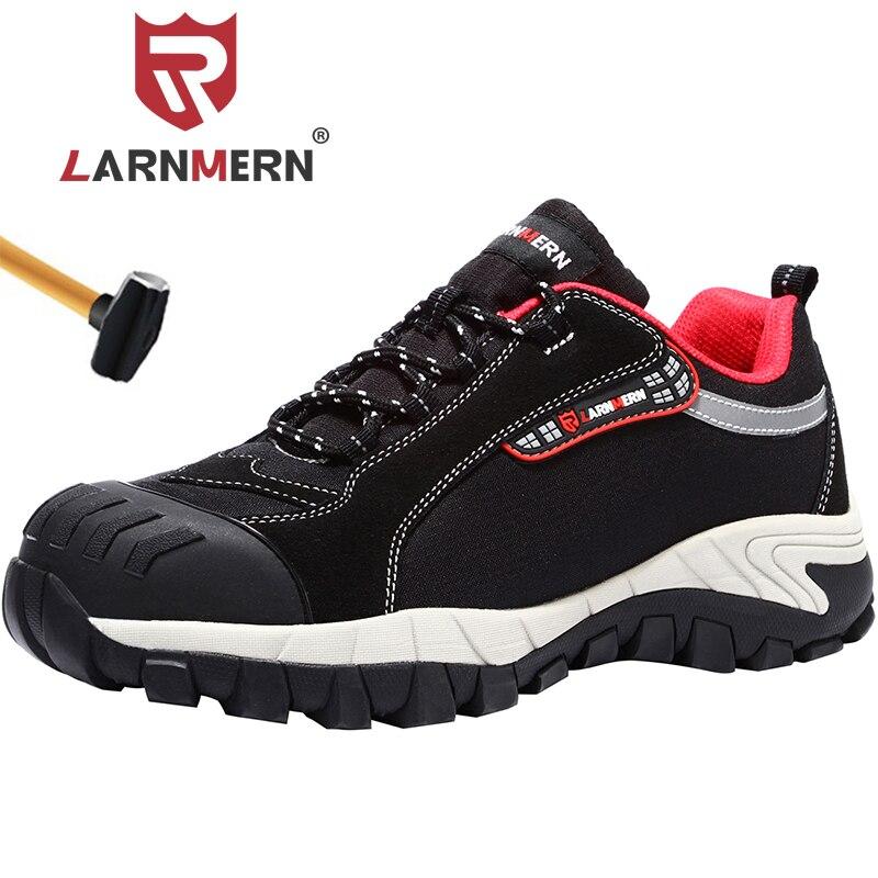 LARNMERN Удобная Рабочая безопасная обувь для мужчин, дышащие промышленные проколы, замшевые кроссовки, строительные SRA рабочие ботинки
