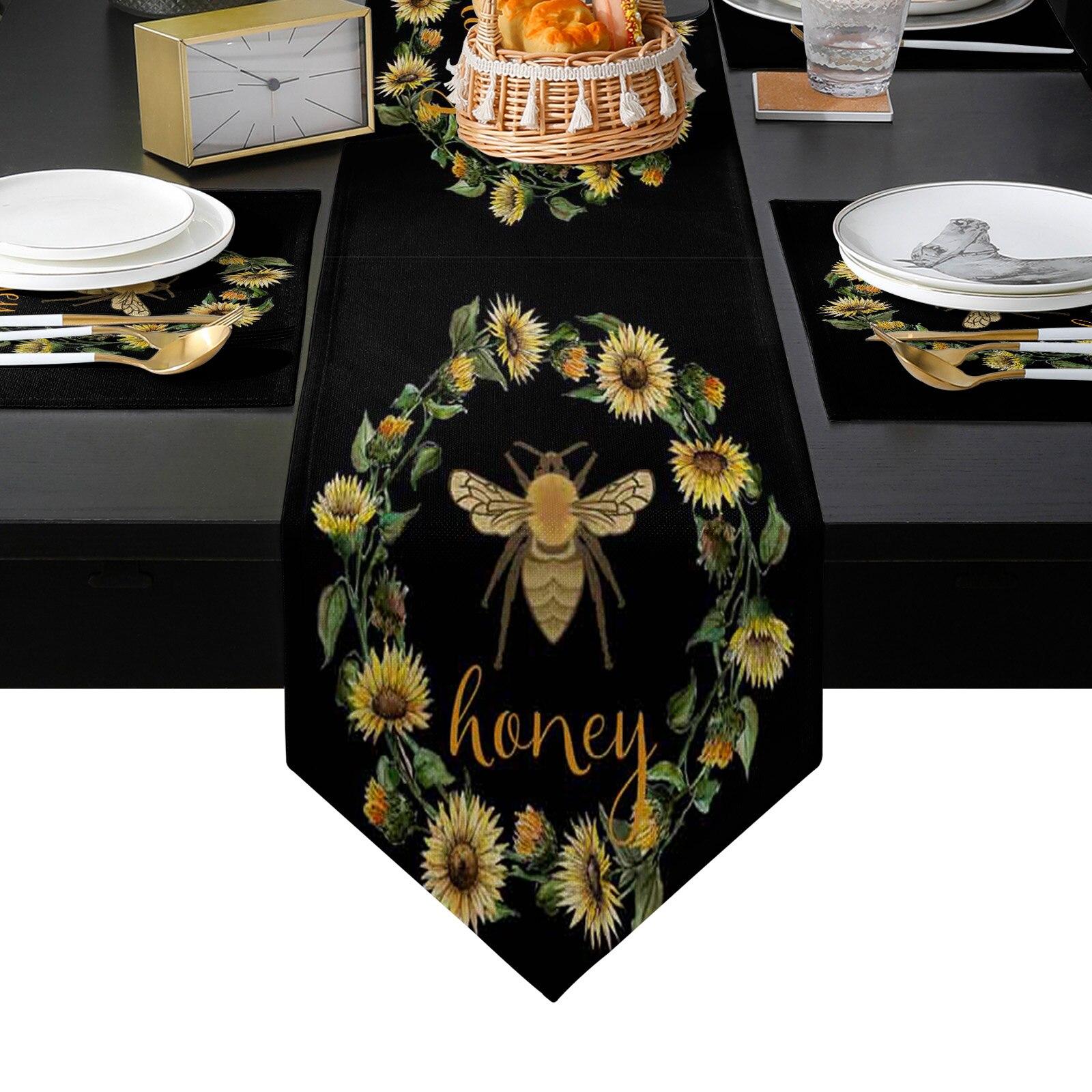 الرجعية النحل عباد الشمس إكليل الأسود الجدول عداء و تحديد الموقع مجموعة الجدول العلم الجدول العدائين للمنزل الحديث ديكور حفلات الزواج