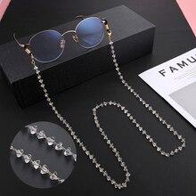 Teamer Kristall Perlen Gläser Kette für Frauen Mode Lanyard Gold Farbe Metall Sunglassses Ketten Band Kabel Hängen Neck Halter