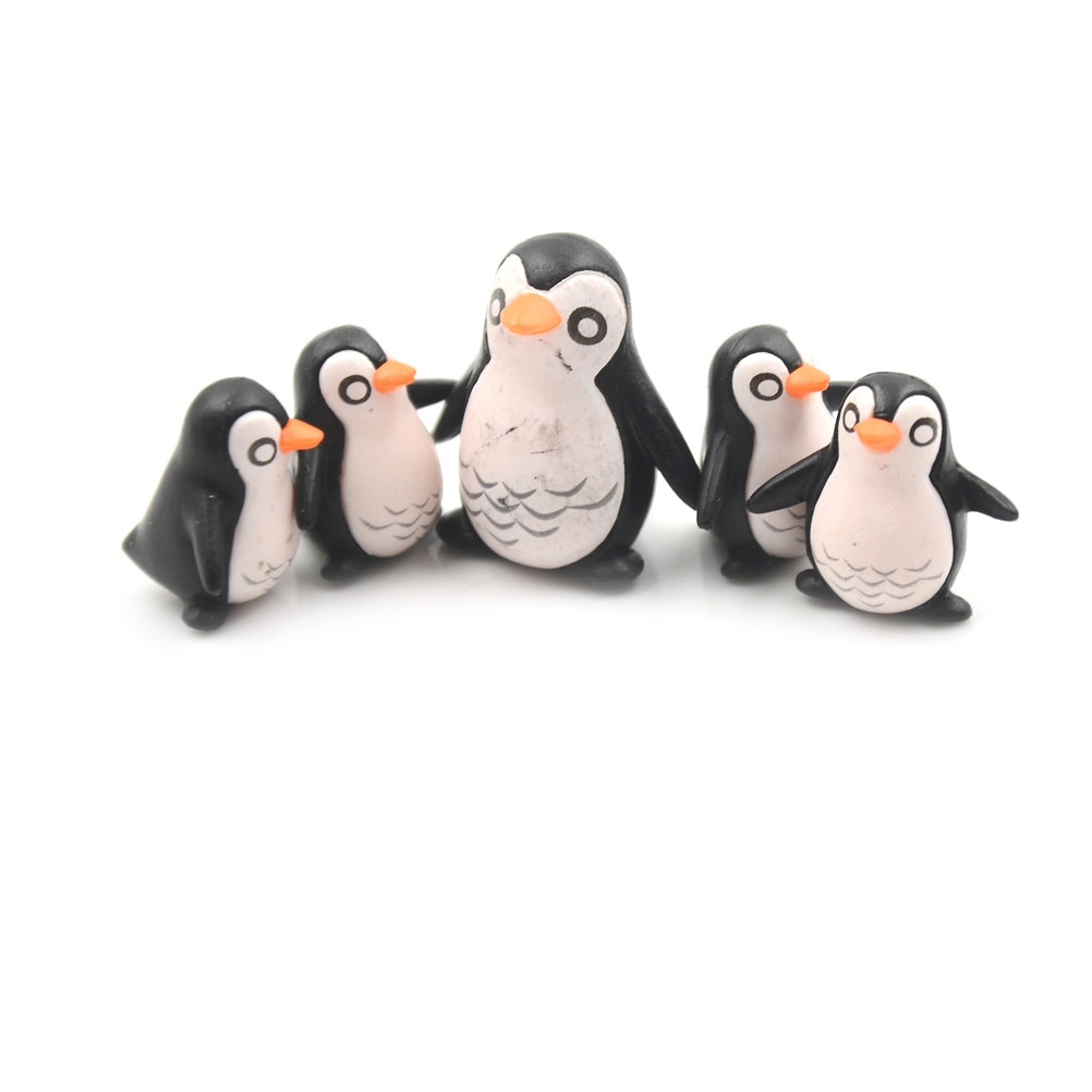 5pcs Cute Mini Winter Penguin Miniature Figurine Christmas Figures DIY Crafts For Fairy Garden Gnomes Moss Terrariums Decoration