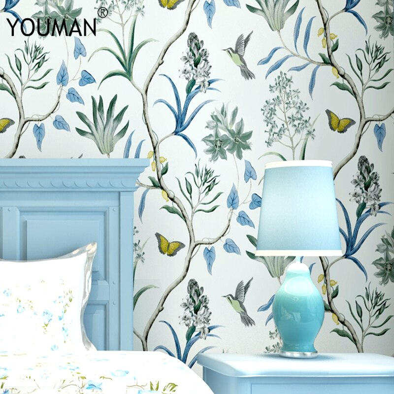 خلفية Youman Vintage البلاد الأمريكية الطازجة ثلاثية الأبعاد حديقة زهرة والطيور غرفة نوم غرفة المعيشة التلفزيون خلفية غير خلفية قماش