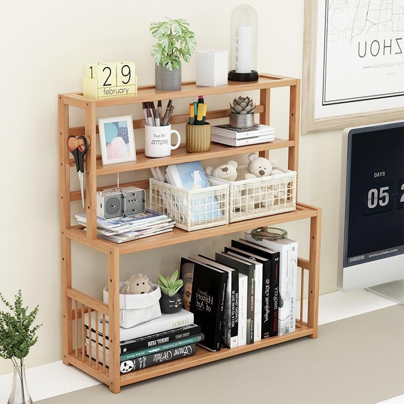 3-tier Wooden Bookshelf Desktop Sundries Stationery Organizer Bamboo Bookcase Furniture Magazine Holder Home Decor Display Shelf