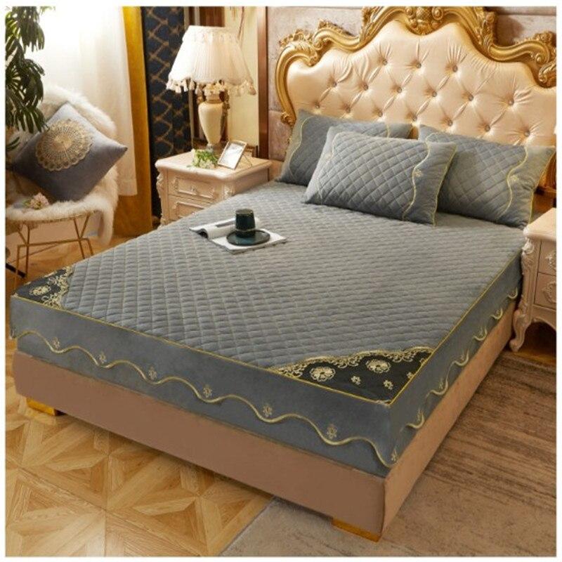 ملاءة سرير مخملية مبطنة غير قابلة للانزلاق ، مفرش سرير من المخمل الكريستالي ، غطاء واقي للمرتبة ، غطاء سرير من الصوف ، 3 قطعة