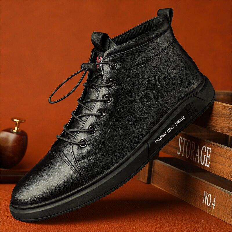 Мужская обувь, зимняя модная обувь, спортивная обувь, кожаная мужская повседневная обувь, мужская обувь средней длины, теплая обувь из велюр...