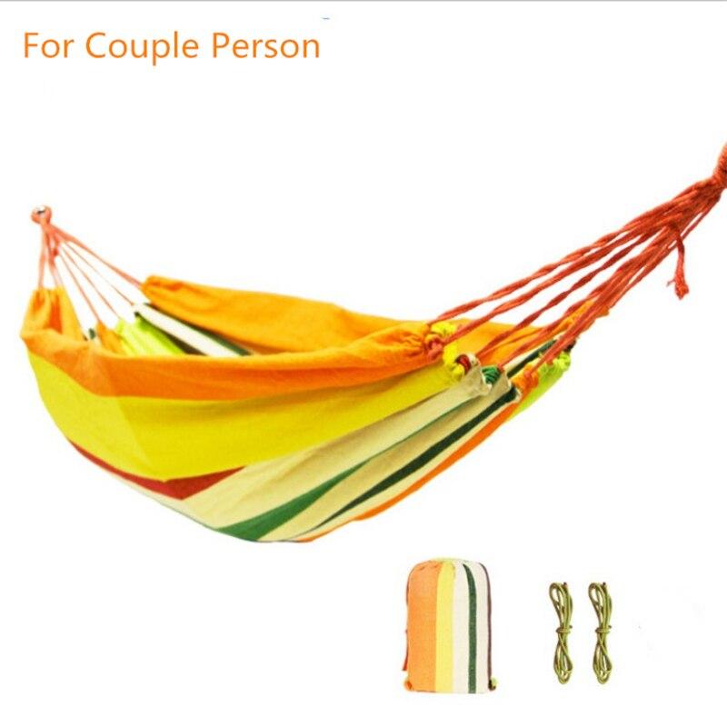 2 Persona hamaca de franja de arco iris habitación Deluxe doble hamaca Columpio de red silla/de ocio interior hamaca colgante cambios Decoración