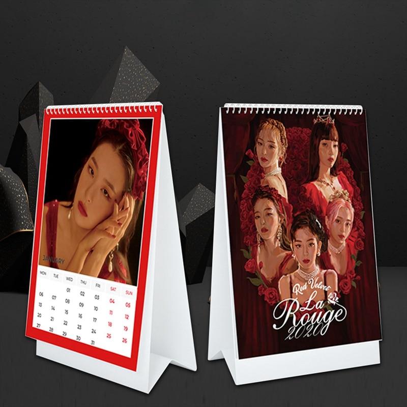 Veludo vermelho 2020 calendário de mesa moda mini tabela calendário fãs coleção presentes material de escritório da escola papelaria estrelas arunds