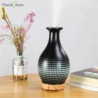 Diffuseur Darome Dhuile Essentielle daromatherapie 7 LED Couleur Chang Darret Automatique Sans Eau Brume fraiche Vase En Ceramique Humidificateur Maison