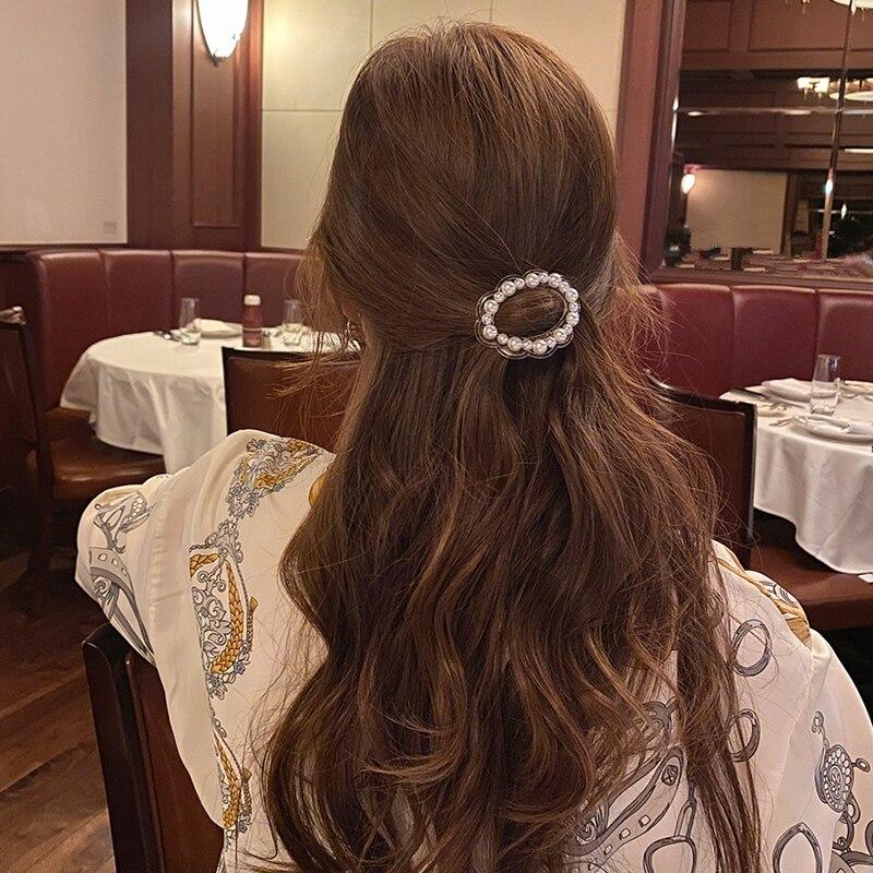 Женская заколка для волос AOMU, Винтажная заколка для волос с жемчугом в Корейском стиле, Круглый геометрический аксессуар для волос, 2020