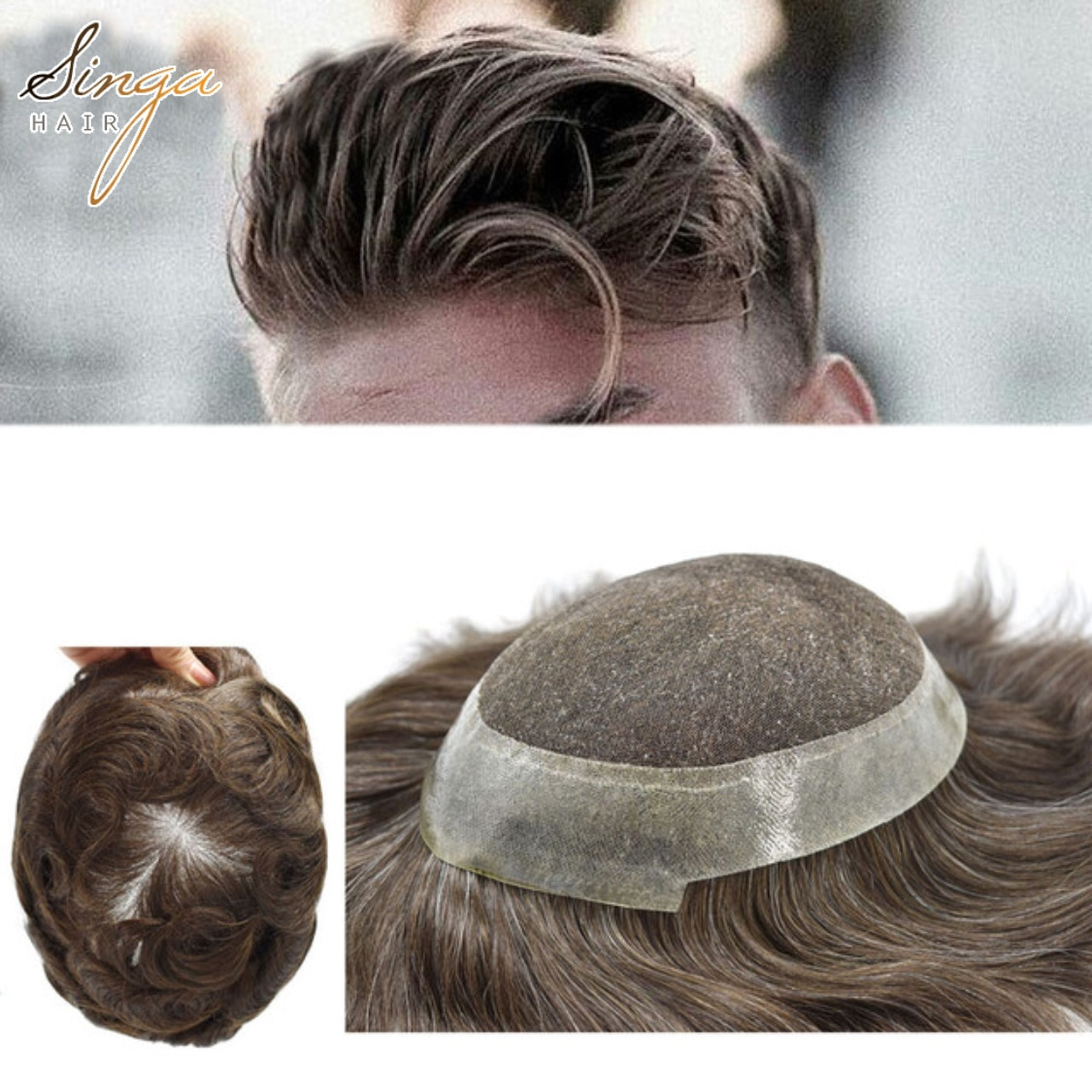 Full French Lace Men Toupee Easy Tape Attached Around Hair Replacement Australia Skin Realistic Hairpieces Wig Manufacturer