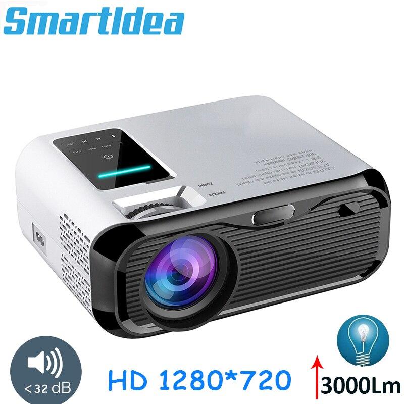 Smartldea 2019 Новый 720P HD мини-проектор, родной 1280*720 3000 люмен светодиодный видео проектор для домашнего Кино Портативный видеопроектор hdmi