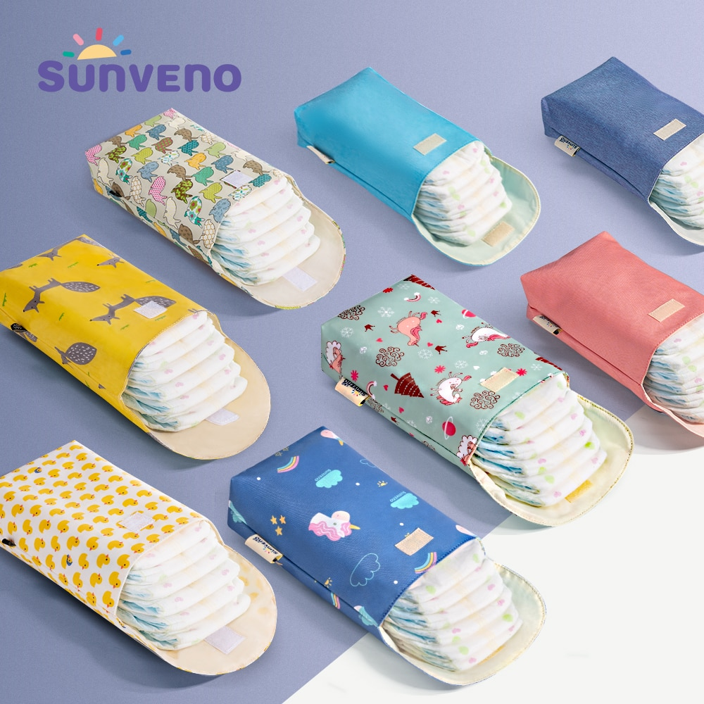 Sunveno Baby Diaper Bag Organizer Reusable Waterproof Fashion Prints Wet/Dry Cloth Bag Mummy Storage