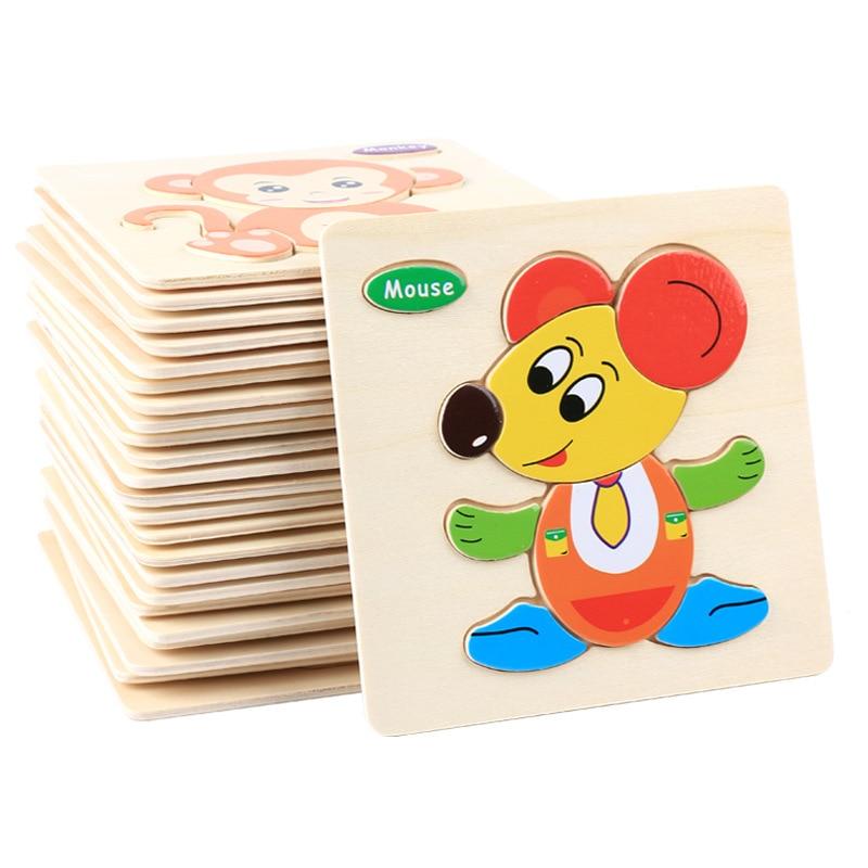 Деревянные игрушки для детей, мультяшное животное, транспортное средство, деревянная головоломка для детей, детская развивающая игрушка дл...