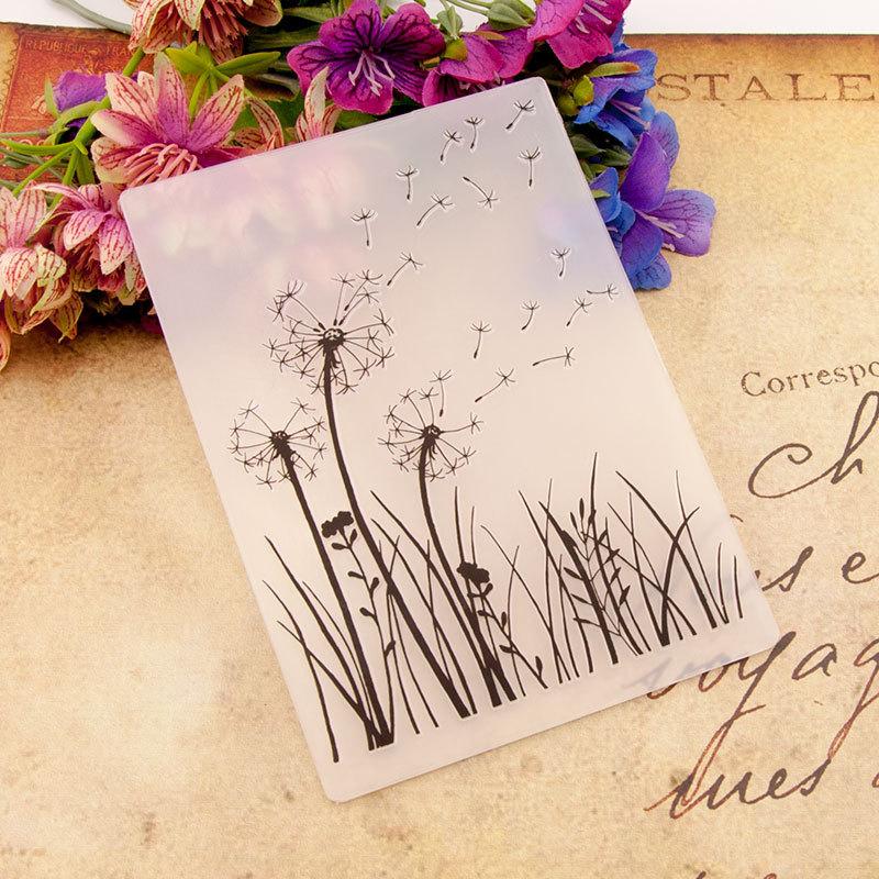 Dandelion print DIY Plastic Embossing Folders for DIY Scrapbooking Paper Craft/Card Making Decoration Supplies