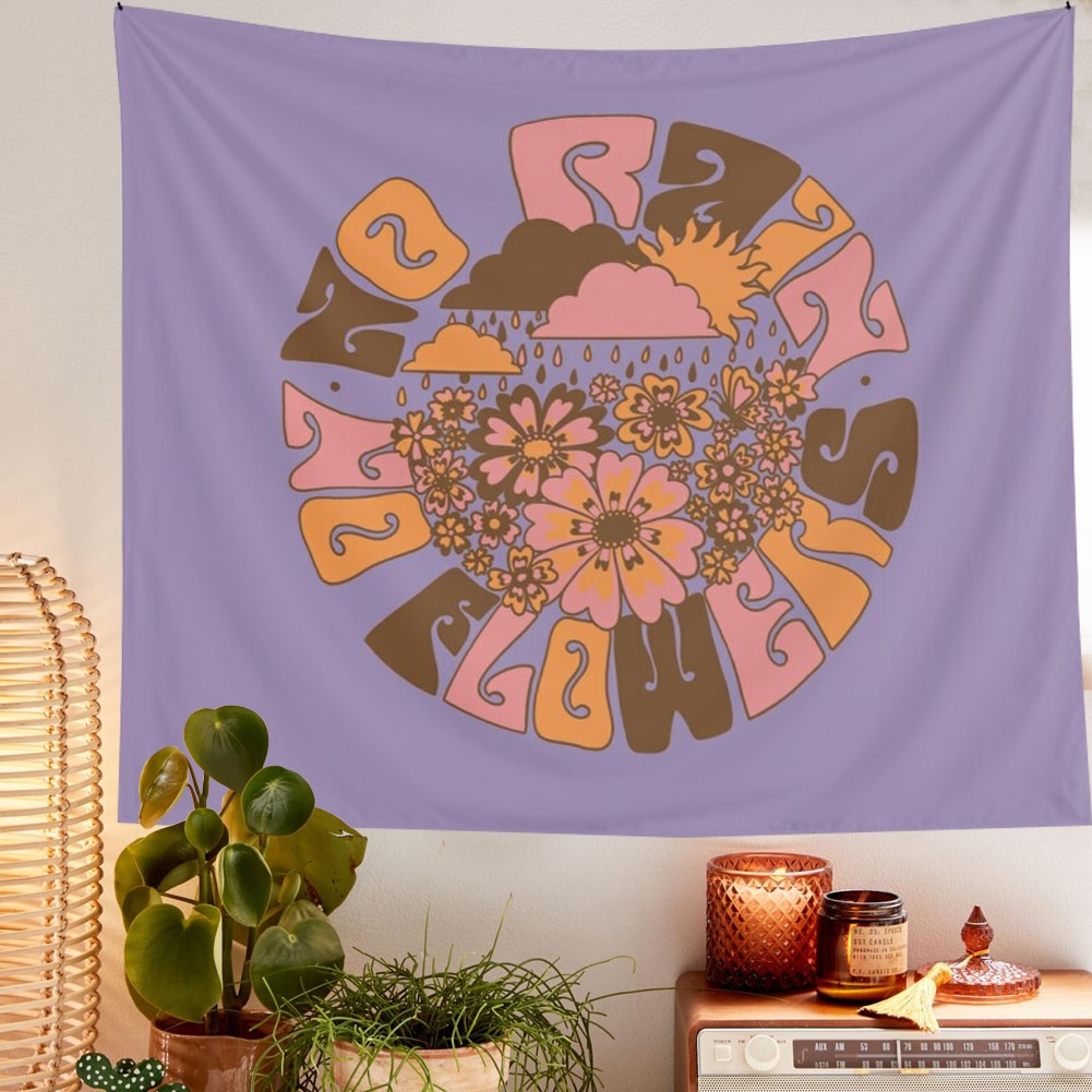 Цветок МАНДАЛА ГОБЕЛЕН на стену фиолетовый хиппи богемные гобелены красочные психоделические INS домашний декор цветочный Настенный декор