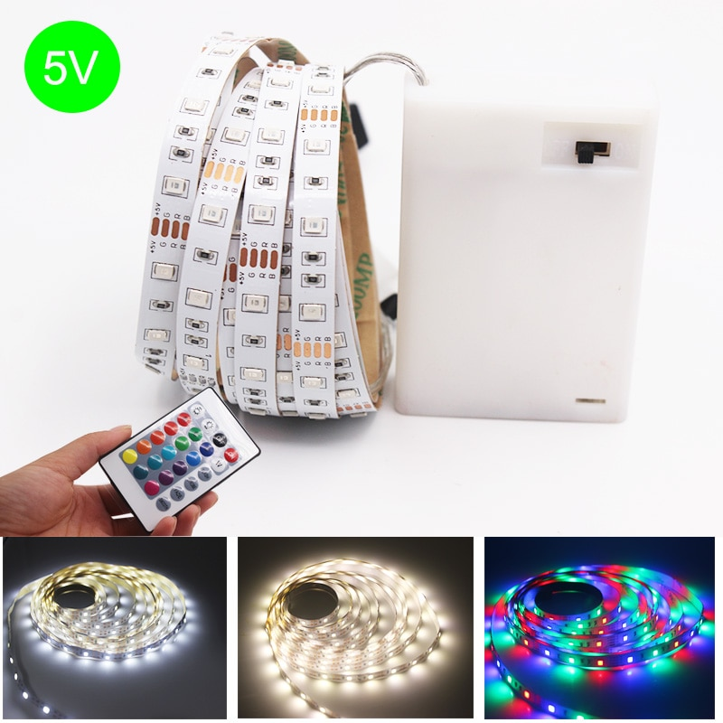 USB de la batería 5V RGB LED de luz de tira 60 LEDs/m 2835 SMD LED Luz de tira HDTV TV PC de escritorio pantalla inferior 0,5 m 1 m 2 m 3 m 4 m 5 m