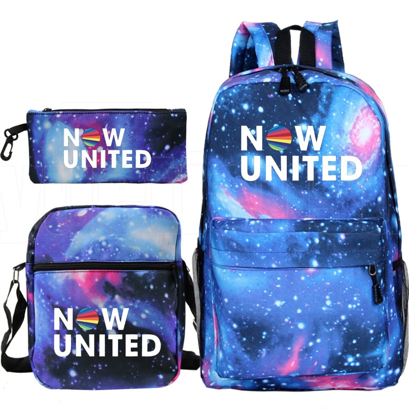 3PCS/set Mochila Now United Backpack Women NU Team Hip Hop Lecak Pencil Case Shoulder Bookbag Zipper