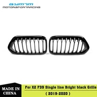 single line bright black abs car grille for bmw x2 f39