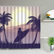 Surfboard Woman Palm Tree Ocean Beach Scenery Shower Curtains Sea Vacation Landscape Waterproof Fabric Bath Screens With Hooks