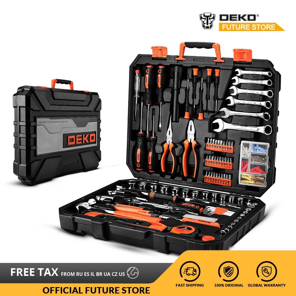 DEKO 208 Uds juego de herramientas profesionales de reparación de coches, llave de trinquete automático, juego de herramientas para mecánicos con caja de moldeado