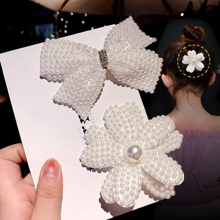 Blanco perla lazos de cabello con pinzas para el cabello para niñas mujer Boutique capas Bling Centro de diamantes de imitación arcos horquillas accesorios para el cabello