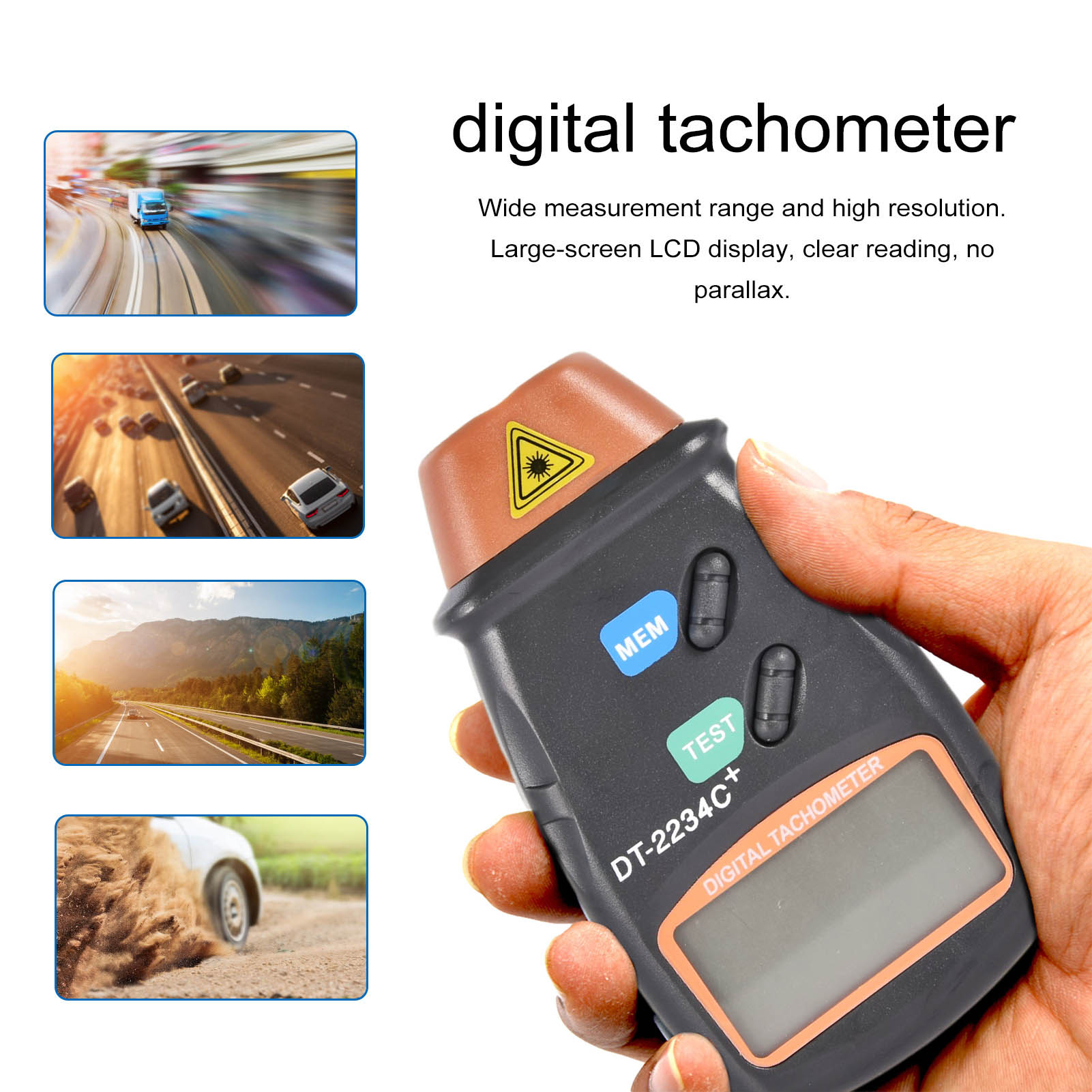 Digital Laser Counter Meter Non-contact Tachometer Rev RPM Counter For Testing Engine Rotation Speed Gauge Tools durable dt2234c digital laser counter meter non contact tachometer rev rpm counter for testing engine rotation speed gauge tools