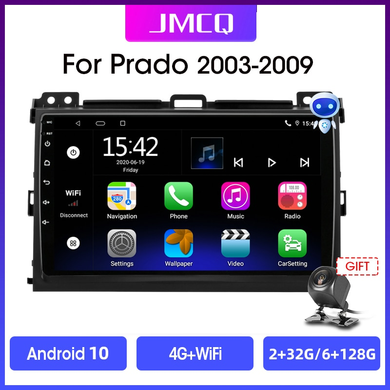Фото - Автомагнитола JMCQ, 2 din, Android 10, мультимедийный видеоплеер для Toyota Land Cruiser Prado 120, Lexus GX470, навигация GPS, 2 din автомагнитола jmcq 2 din android 10 для renault megane 2 2002 2009 мультимедийный видеопроигрыватель с сенсорным экраном gps rds dvd