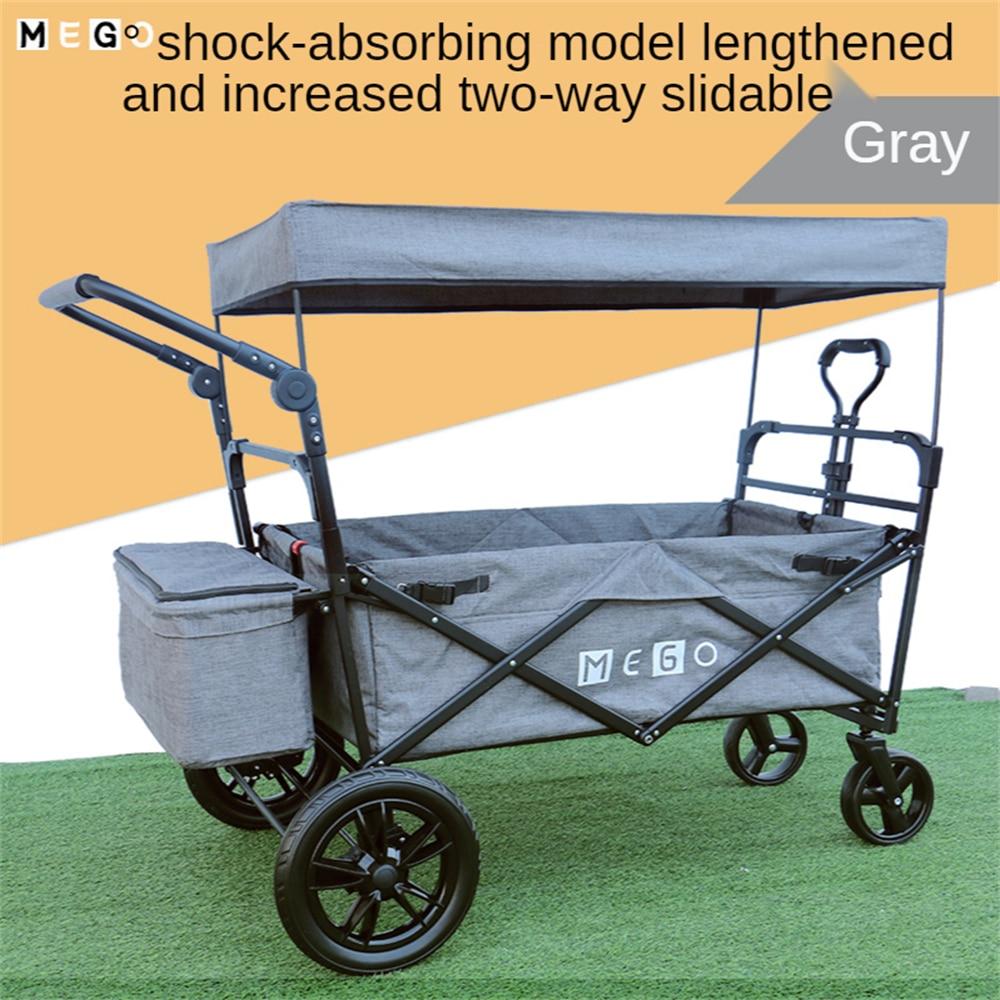 Outdoor Utility Wagon Heavy Duty Folding Garden Portable Hand Cart with All-Terrain Beach Wheels Perfect for Beach Camping