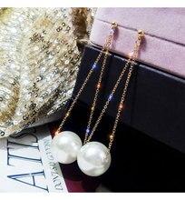 Nouvelle longue grande perle boucles doreilles tempérament féminin coréen boucles doreilles Net rouge boucle doreille bijoux