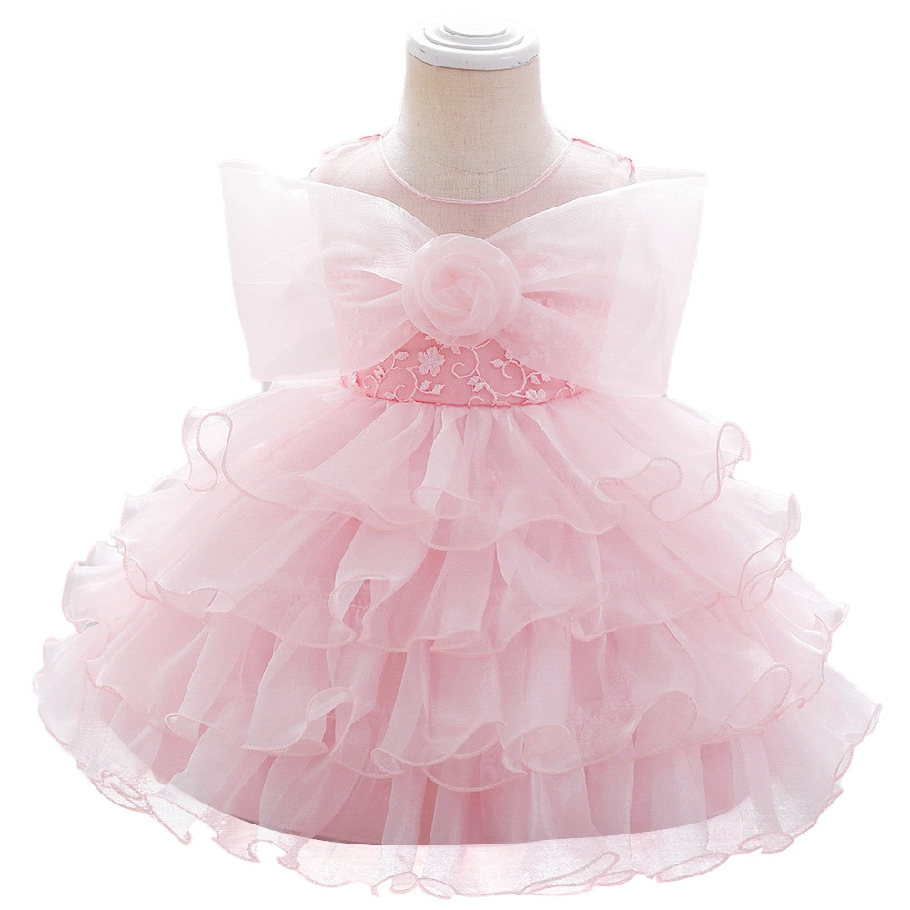 Popodion جديد 2021 هدية عيد ميلاد للطفل سنة واحدة ، القوس الشاش فستان الأميرة CHD20445