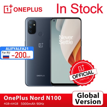 OnePlus Nord N100 Smartphone, Version globale, 4 go 64 go, Snapdragon 460 90Hz, écran 6.52 pouces, 13mp Triple, 5000mAh, boutique officielle