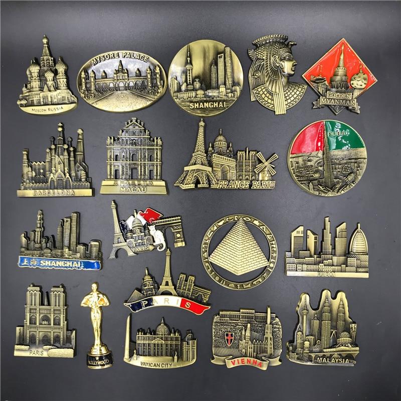 France Paris Barcelona Hollywood Vienna Moscow Russia Egypt Pyramid Vatican City Dubai Macau Metal 3D Cute Magnet Fridge Sticker