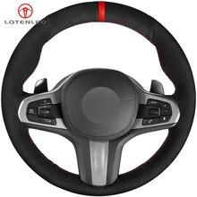 LQTENLEO Black Suede Steering Wheel Cover for BMW M Sport G30 G31 G32 G20 G21 G11 G12 G14 G15 G16 X3 G01 X4 G02 X5 G05 X7 G07 Z4