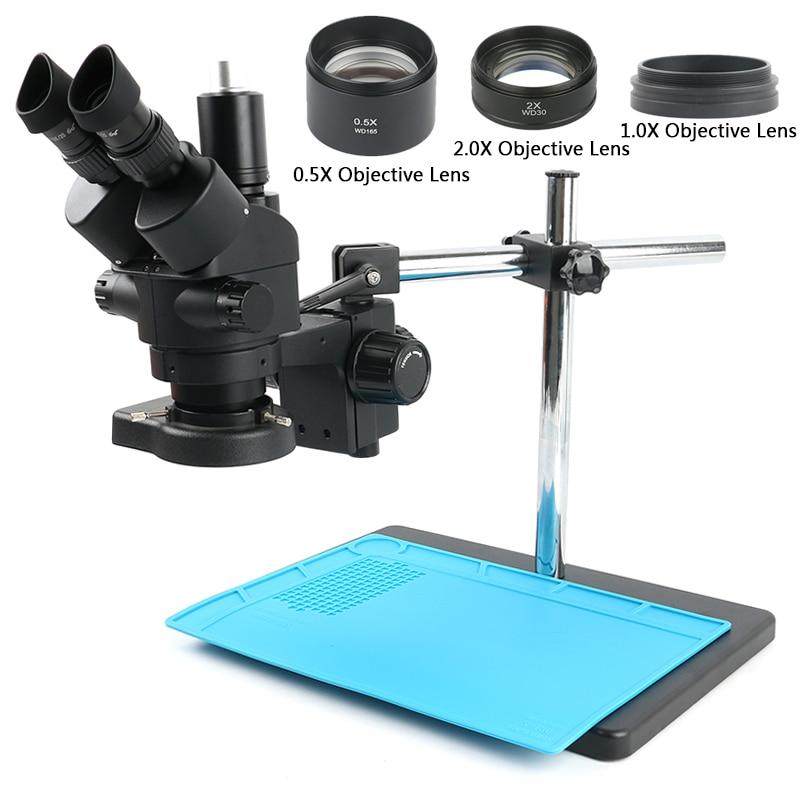 3.5X 90X مختبر الصناعي سيمول البؤري مجهر ستيريو ثلاثي العينيات المجهر + 0.5 2.0X المساعدة الموضوعية عدسة لحام ثنائي الفينيل متعدد الكلور