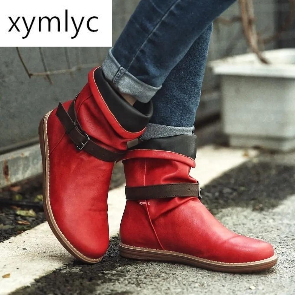 Botas de invierno 2020 para Mujer, zapatos planos casuales marrones Botines de...