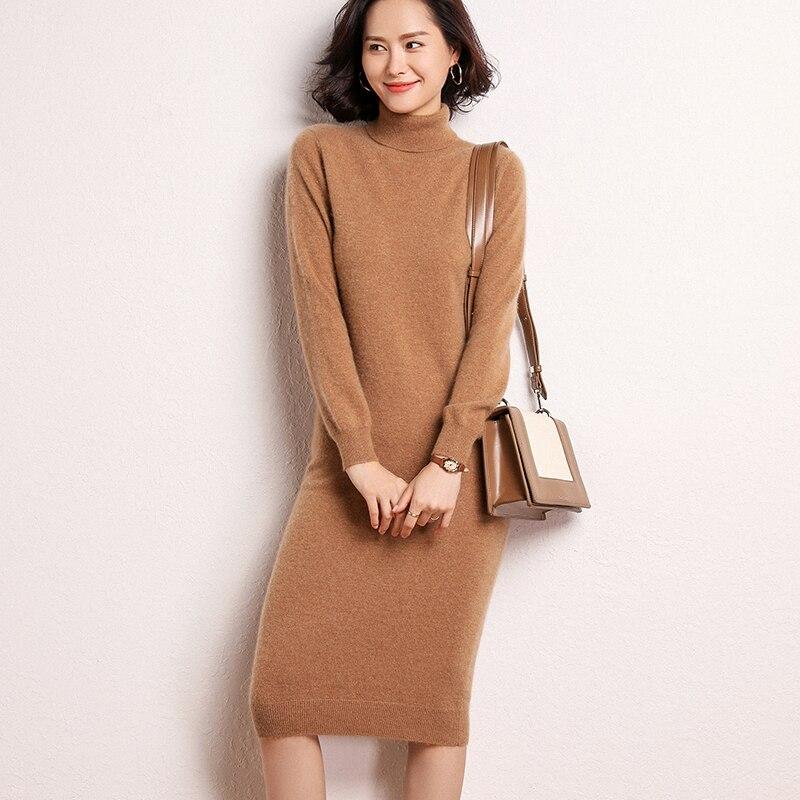 100% mongolian Cashmere dress  Women  Long Sweater Dress Female Autumn Winter  Long Sleeve Loose knitted Sweaters Dresses