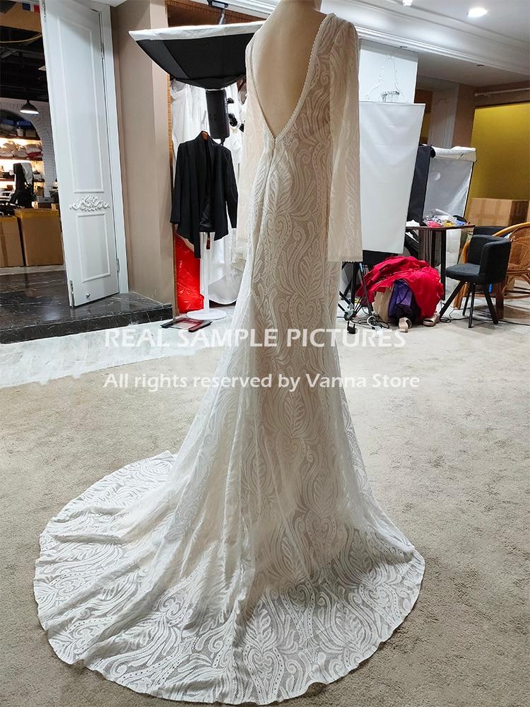 Lace Bateau Long Sleeves Boho Wedding Dress Backless Plus Size Custom Made Rustic Photoshoot 2021 Mermaid Bridal Gown 4053#